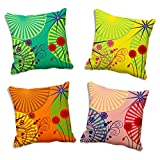 MeSleep 4 Pc Floral Abstract Multi 3D Cushion Cover (16x16)
