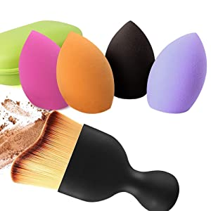 BEAKEY 4? Makeup Sponges & Contour Brush, Latex-free, Professional Beauty Blending Sponge for Dry or Wet Use, Multi-Colored