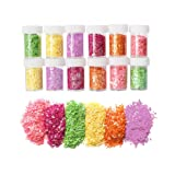 12 Pack Slime Bead Supplies,Simuer Heart Shape Glitter Sequins Confetti Paillette Glitter Pack Shake Jars DIY Art Craft for Slime,Wedding Party Favors Decorations,Assorted Colors (Tamaño: Heart Sequins)