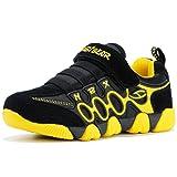 HOBIBEAR Boys Girls Sneakers Kids Hook and Loop Lightweight Running Shoes,Black/Yellow,12.5 M US Little Kid (Color: Black/Yellow, Tamaño: 12.5 M US Little Kid)