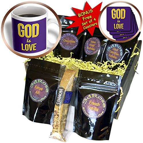 Cgb_200235_1 777Images Designs Graphic Design Bible Verse - God Is Love. 3D Text Art. Verse From 1 John On Purple Background - Coffee Gift Baskets - Coffee Gift Basket