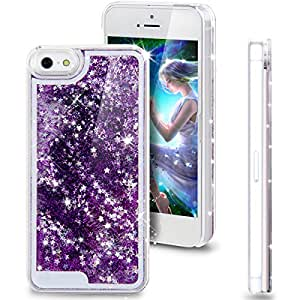 ikasus(TM) iPhone 4s Case,iPhone 4s Cases,iPhone 4s Cover,iPhone 4 Case Cover,Creative Unique Design Flowing Liquid Bling Glitter Star Hard Case for Apple iPhone 4 4S (Dark Purple)