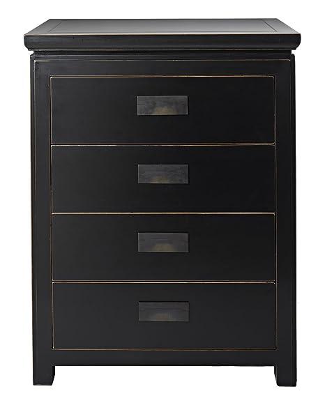 4 Living Oriental Black Lacquer Chest Of 4 Size:W 65 Depth 45 H 85cm