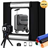 Portable Photo Studio Box 24x24in/60cm, Adjusatable Light Box with 80pcs SMD LED Beads, Photo Shooting Tent with White Light Warm Light and 6 Color Background (Tamaño: 60cm Light Box)