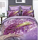 Ttmall Full Queen Size 100% Cotton 4-pieces 3d Lavender Green Brown Eiffel Tower Violet Flowers Floral for Girls Printed Fitted Sheet Sets (Mattress Cover) Ruffle Duvet Cover Set/bed Linens/bed Sheet Sets/bedclothes/bedding Sets/bed Sets/bed Covers/5-piec