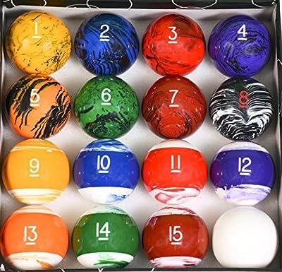 Iszy Billiards Tech Marble Style Pool Table Billiard Ball Set, Regulation Size & Weight