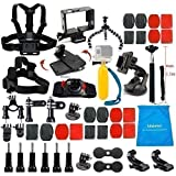 LifeLimit® Accessories Kit for Gopro 4,hero 3+, Hero 3,Hero 2,Hero HD Cameras Outdoor Sports Kit,Octopus Tripod, Suction cup ,helmet mount ,Floating bobber ,360-degree Rotation Clip & Screw .Extendable Handheld Monopod Pole ,Bicycle Handlebar / Seatpost Clamp with Three-way Adjustable Pivot Arm ,Flat &Curved Mounts with adhesive pads ,chest mount ,Head strap Mount , LifeLimite pouch ,360-degree Rotation Wrist ,Black Tripod Mount Adapter,Frame Mount Housing(HERO4 / HERO 3 / HERO3+ cameras only)