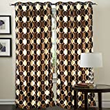 "Hargunz Eyelet Round Design Polyester Door Curtains - 84""x48"", Pack of 2 Curtain, Brown (KS047-2-2)"