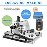 4 AXIS 800W 6040 Desktop CNC Router 3D Engraving Drilling Milling Machine 110V with 1605 Ball Screw and 1.5KW VFD (Color: Silver)