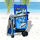 Wonder Wheeler Beach Cart - Easy Roll Ultra Wide Wheels with Silver Mist Frame and Black Fabric