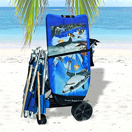 Super Wide Wheel Wonder Wheeler Beach Cart with Silver Mist Frame and Black Fabric (Black Fabric with Silver Mist Frame, External BodyBoard Pouch with Silver Mist Frame) (Beach Wagon With Big Wheels compare prices)