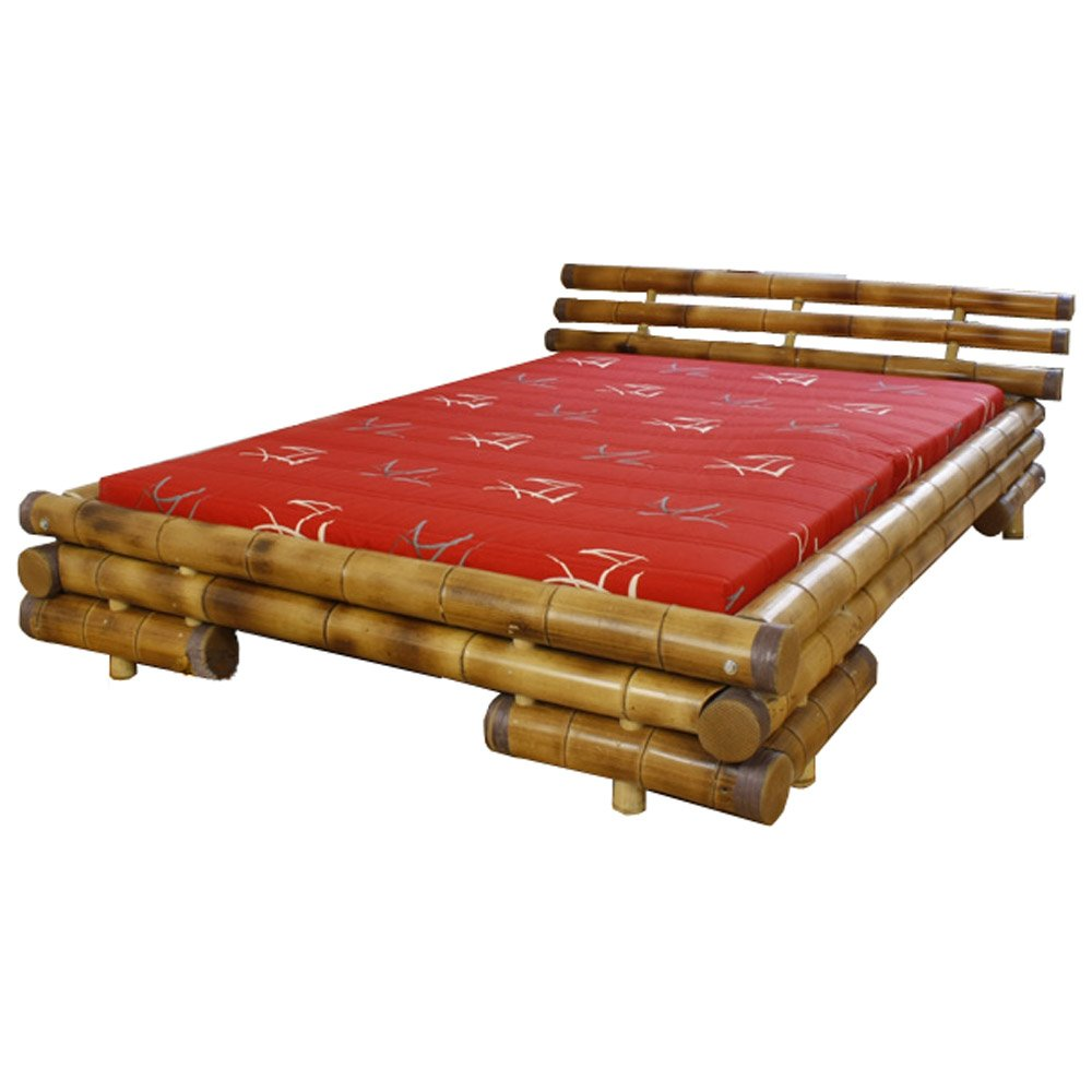 Homestyle4u Bambusbett Futonbett Bambus Bett 140 x 200 cm in braun Doppelbett Bettgestell inkl. Lattenrost  Überprüfung und Beschreibung