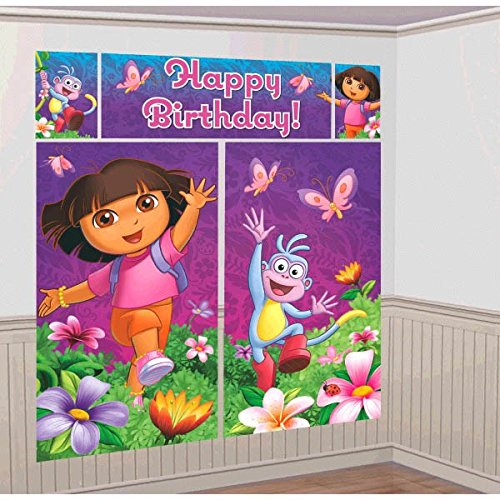 Amscan Colorful Dora's Flower Adventure Party Scene Setter Wall Decorating Kit (5 Piece), Purple, 59 x 32 1/2""