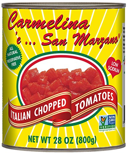 Carmelina San Marzano Italian Chopped Tomatoes in Puree, 28 ounce (Pack of 6) (Canned Italian Tomatoes compare prices)