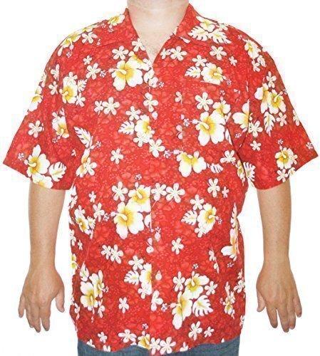 Happy Hawaiian Hut - Herren Hemd Hawaii Blumen Motiv - XL, Rot