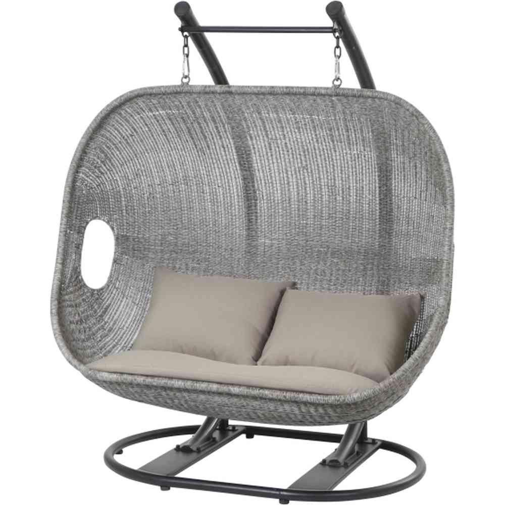 Siena Garden Bedfort Hängekorb 2 Sitze Stahlgestell, Geflecht, weiß / grau