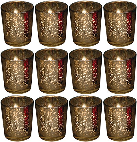 Biedermann Rustic Glass Votive Holder, Gold, Set of 12