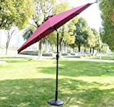 Outsunny Outdoor Patio Umbrella with Tilt and Solar Powered LED Lights, 9-Feet, Wine Red