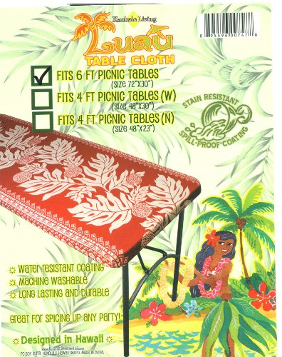 """Hawaiian Tropical Picnic Tablecloth (Fits 6 Feet Picnic Tables 72""""X30"""", Spicing Up Any Party)"""