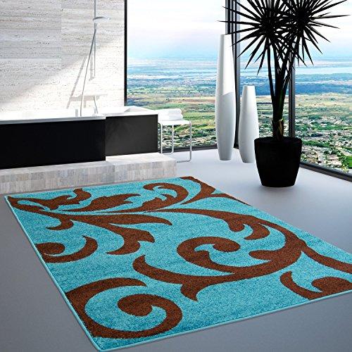 Teppich Modern Style Floral Öko-Sud azzurro turchese marrone diverse taglie, Polipropilene, Türkis Braun, 190 cm_x_280 cm