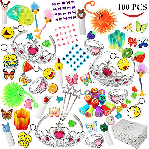 Joyin-Toy-100-Pc-Party-Favor-ToyAccessory-Assortment-for-Girls-Kids-Party-Favor-Birthday-Party-School-Classroom-Rewards-Carnival-Prizes-Pinata-Toy-Stocking-Stuffers-Halloween-Accessories