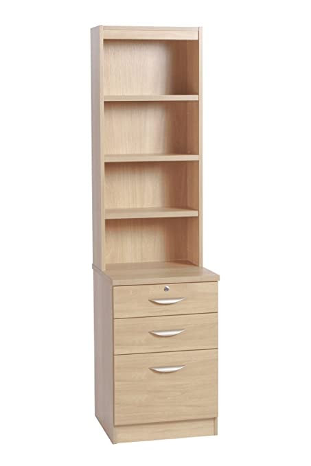 B-3CU-OC-IN-BE Beech Three Drawer Unit Filing Cabinet Home Office Furniture UK Modular Small Desk Height Metal Narrow With Lock Storage File Bedroom A4 For Living Room Bedside B01BGVQ69K