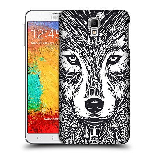 Head Case Designs Wolf Doodle Animal Faces Protective Snap-on Hard Back Case Cover for Samsung Galaxy Note 3 Neo N7505
