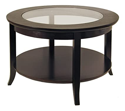 Winsome Wood Round Glass Coffee Table