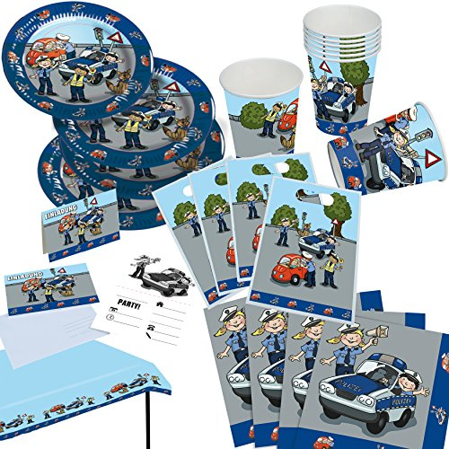 105 teiliges polizei party set f r mottoparty und. Black Bedroom Furniture Sets. Home Design Ideas