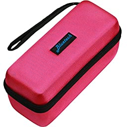 Hard Travel Case For Bose Mini II & Bose Soundlink Mini Bluetooth Portable Speaker - Carry Case for Speaker, Wall Charger, Charging Cradle & Silicone Cover, Pink, By Bluetech