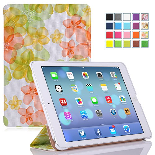 MoKo Apple iPad Air Cover Case - Ultra Slim Lightweight Smart-shell Stand Case for Apple iPad Air / iPad 5 (5th Gen) Tablet, Flower GREEN (With Smart Cover Auto Wake / Sleep)