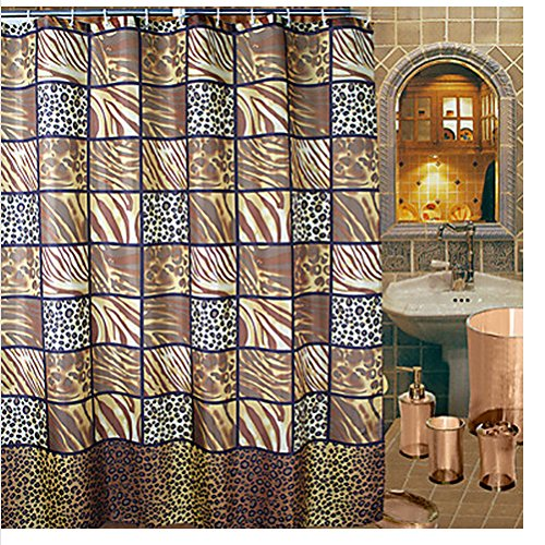 ... Shower Curtain, Brown/Gold/Earthtones, 54-Inch By 78-Inch Home Garden
