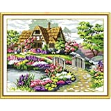 Yontree DIY Handmade Countryside Flower Stamped Cross Stitch Kit Embroidery Kit Home Decor (Color: colorful, Tamaño: free)