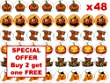 48 x 3cm Halloween Party Pumpkin Fairy Cup Cake Toppers Decoration Edible Rice Wafer Paper