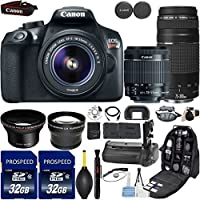 Canon EOS Rebel T6 DSLR Camera with 18-55mm IS II Lens + Canon EF 75-300mm f/4-5.6 III + Kit Includes, 58mm HD Wide Angle + 2.2x Telephoto + 2Pcs 32GB Commander Card + Battery Grip + Extra Battery