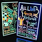 """AGPtek 16""""x12"""" Flashing Illuminated Erasable Neon LED Message Writing Board Menu Sign (7 Colors of RGB 28 Flashing-Mode Remote Control, Metal Chain for Hanging up, Washable Eraser Cloth)"""