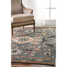 nuLOOM Transitional Tribal Medallion Grey Rug (5\' x 8\')