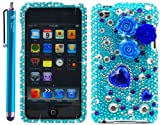 "Pearl Flowers Blue Rhinestones Protector 3D Case for iPod touch 4 / 4G / 4th Generation - Aqua Blue 4.5"" Branded Capacitive Stylus Pen Included - In The Friendly Swede® Retail Packaging"