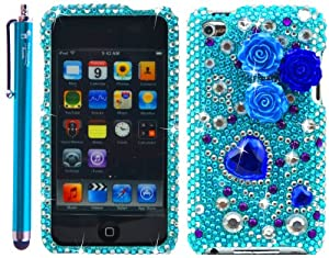 Pearl Flowers Blue Rhinestones Protector 3D Case for iPod touch 4 / 4G / 4th Generation - Aqua Blue 4.5