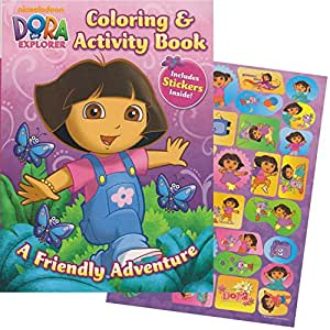 Amazon Dora The Explorer Giant Coloring Book With Stickers 144 Pages Toys Amp Games
