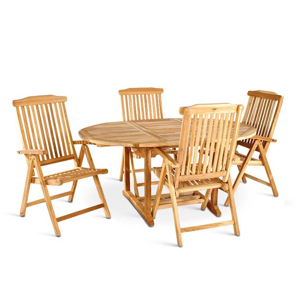 Gartentischgruppe aus Teak Massivholz verlängerbar (5-teilig) Pharao24