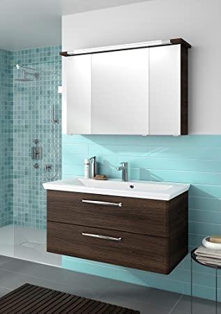 Pelipal Trentino 1100Bathroom Furniture Set 110 cm / Mineral Marble Wash Basin Cabinet / Mirrored Cabinet