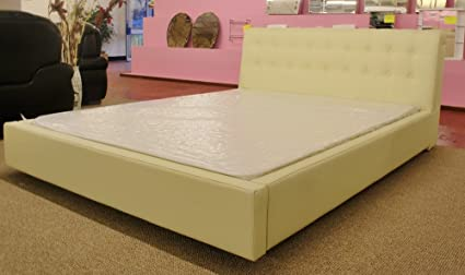 Luxurious Cream Kingsize Leather Bed With Sprung Slats