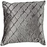 Cortesi Home Spectra Decorative Square Accent Pillow, 16 by 16-Inch, Silver, Checkered
