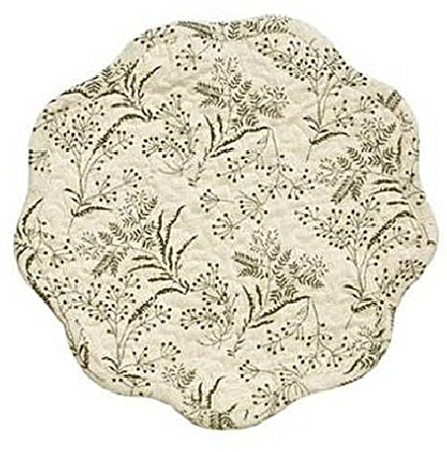 Vhc meadowsedge quilted foliage toile cotton reversible for Quilted kitchen set