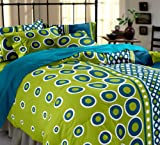 Home Ecstasy 100% Cotton Printed Bedsheet Set 3027 (Green,Double)