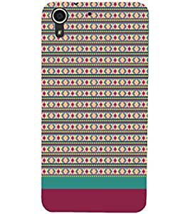 PrintDhaba Tribal pattern D-1887 Back Case Cover for HTC DESIRE 728 (Multi-Coloured)