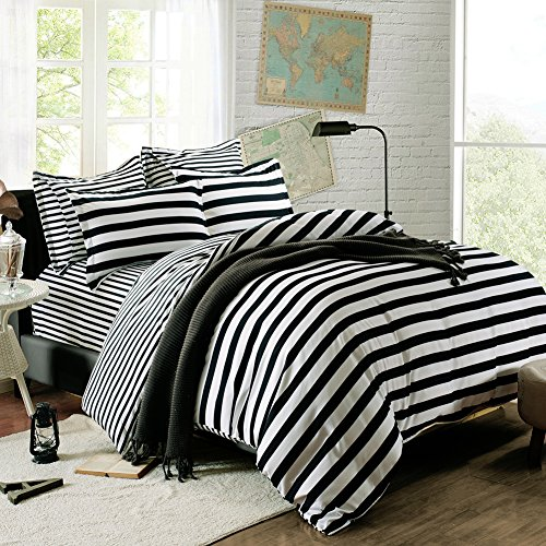 QzzieLife High Quality Microfiber 1500T 4pc Bedding Duvet Cover Sets Striped Black...