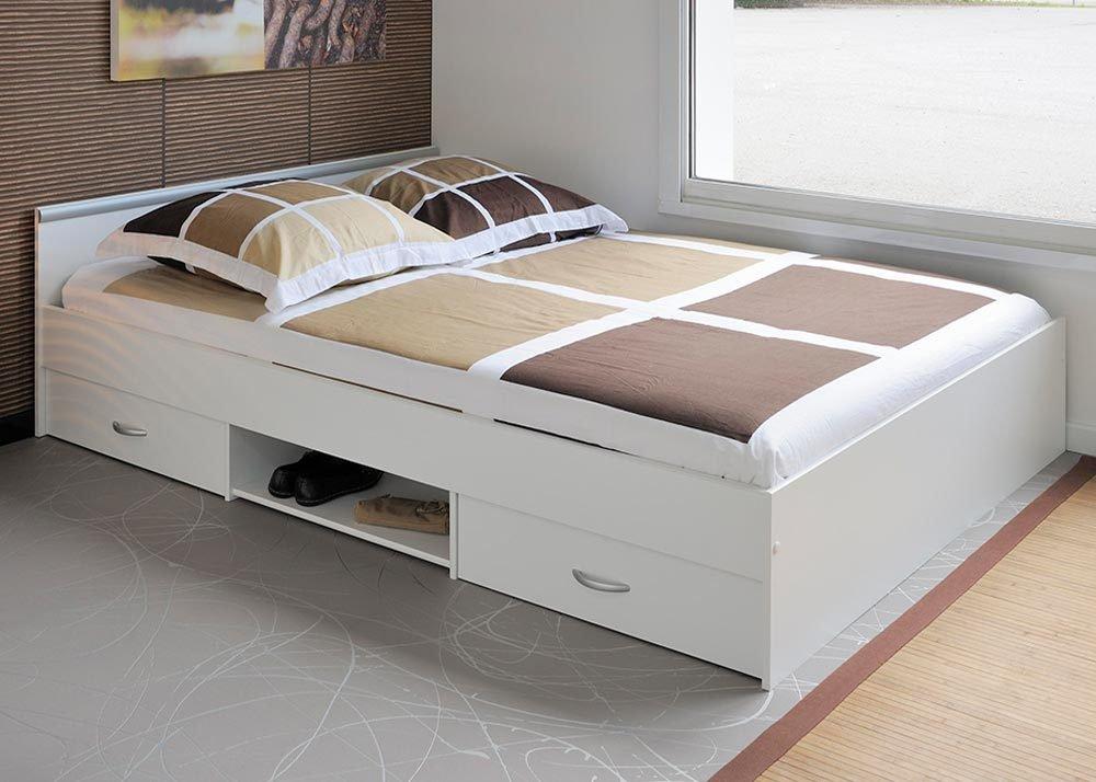Jumbo-Möbel Bett ALOA in Weiß – Parisot Möbel, Liegefläche 140 x 200 cm jetzt bestellen