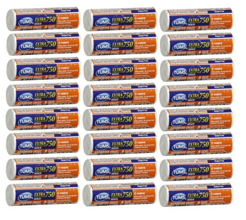Tums Extra Strength Antacid With Calcium Supplement 750 Calcium Rich Assorted Fruit Flavored - 24 Pocket Size Rolls Of 8 Chewable Tablets Each Roll (192 Chewable Tablets Total)